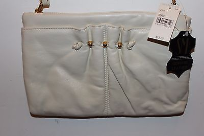 Vintage SM Co Mutterperl Cream Leather Clutch Purse NWT L#1198