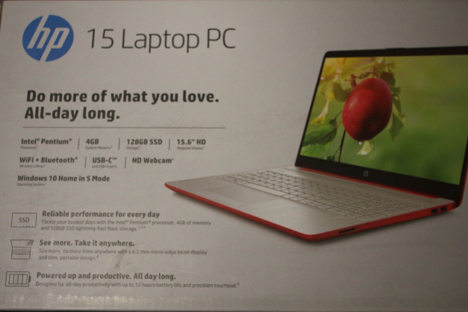 "NEW HP 15.6"" HD Intel Pentium Silver 4GB 128GB SSD Webcam Windows 10 Scarlet Red"