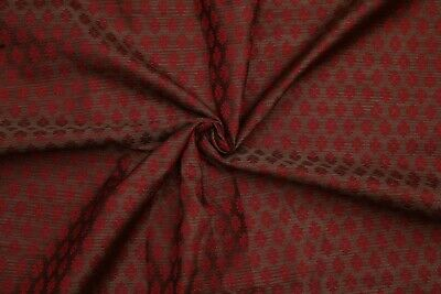 New Jacquard Brocade Silk Blend Fabric Craft Sewing By The Yard Coffee Brown