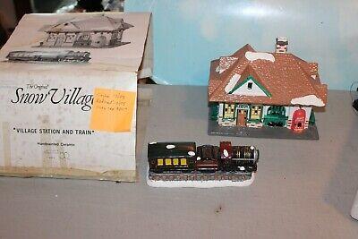 Department 56 Original Snow Village Village Station and Train #51225 4 Pc Set