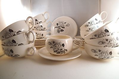 Vintage Paden City Pottery Set of 13 Cups & 12 Saucers White Roses