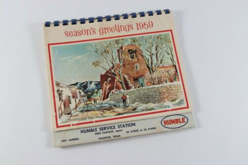 Vintage 1959 Seasons Greetings Humble Service Station Calendar Advertising Gas