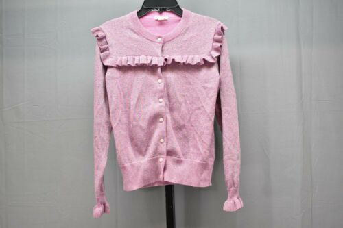 Crewcuts By J.crew Sparkly Ruffle Trimmed Cardigan Sweater - Girls Size 14 Pink