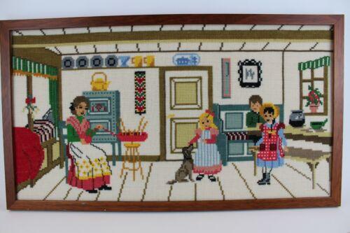"14 x 24"" Finished Needlepoint Aalborg Denmark Woman Children Dog Home Folk Art"