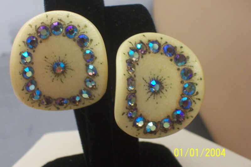 Large Painted Blue AB Rhinestone Celluloid Sparkly Clip on Earrings