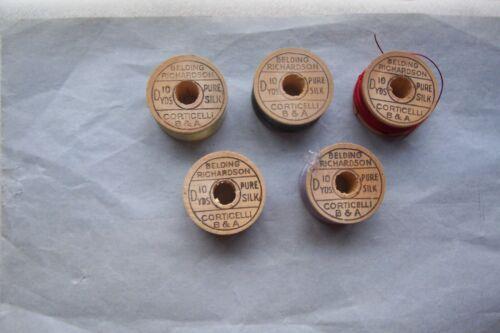 "5 Antique Wooden Spools  Silk Twist  Thread Belding Richardson ""Collectible"""