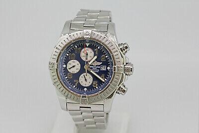 Breitling Super Avenger Blue Dial Stainless Steel Chronograph Men's Wristwatch