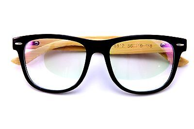 (Genuine Real Bamboo wood Rx'able frame clear lens glasses Large Classic Design)