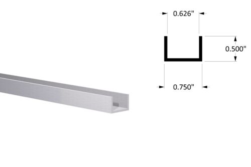 "Aluminum Channel: (3/4"" W x 1/2"" H x 1/16"" Wall) Fits 5/8"" Clear Anodized 3 foot"