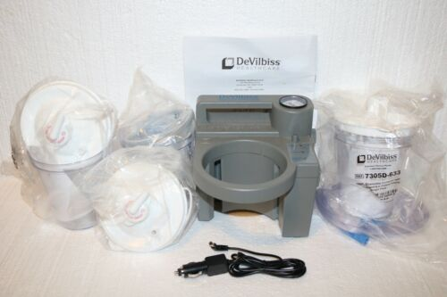 DeVilbiss Suction Unit 7305P Series Aspirator w/ 3 Sealed Canisters & Hoses