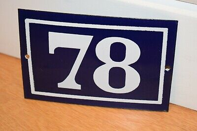 Vintage French Enamel Metal House Sign Number 78 - See Photos