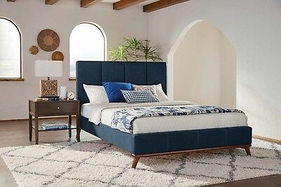 BLUE WOVEN MID CENTURY STYLE KING BED BEDROOM FURNITURE