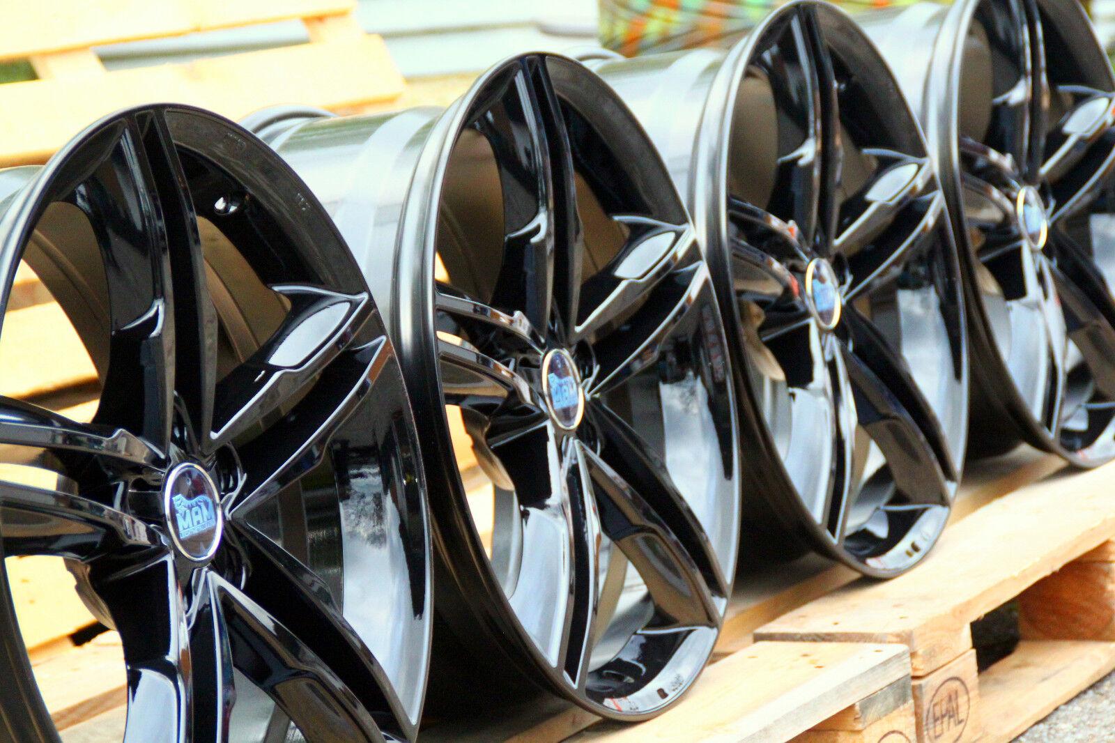 MAM A1 Alufelgen Satz NEU 8x19 Zoll ET30 5x112 Schwarz GLANZ Audi VW Mercedes ◄