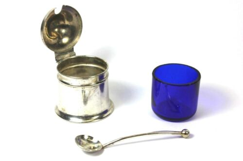 Antique English Silver Mustard Pot Cobalt Blue Liner with Spoon - Hallmarks