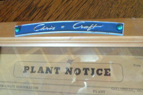 Original Chris Craft Boat Engine Factory Gallipolis Ohio Plaque Sign