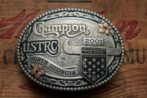 Gist Sterling Silver Overlay USTRC Team Roping Champion Trophy Belt Buckle