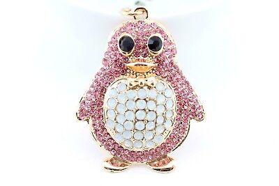 Pink Penguin Keychain Rhinestone Crystal Charm Cute Bird Animal Gift E12](Penguin Keychain)