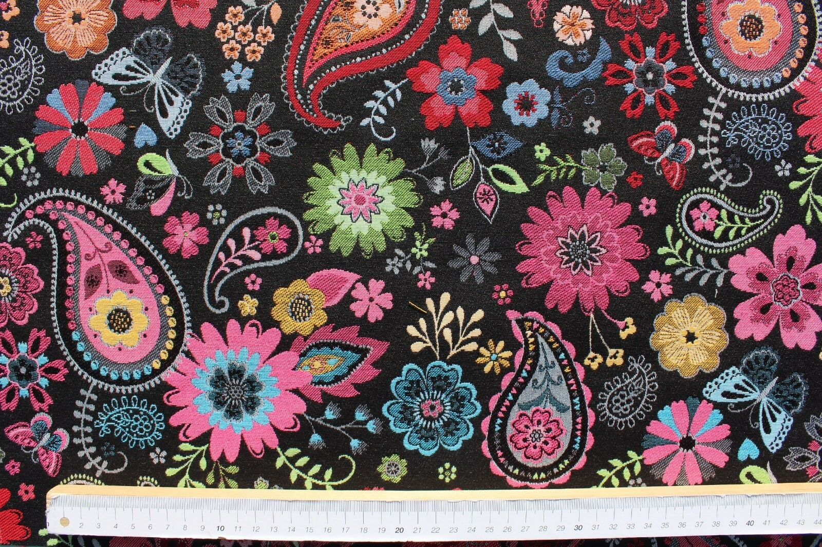 DekostoffGobelin, Jacquard, BB Fabrics, Paisley, Blumen, schwarz, bunt, 140cm