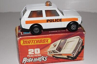 MATCHBOX SUPERFAST #20 POLICE PATROL LAND ROVER, WHITE, POLICE LABELS, BOXED #4