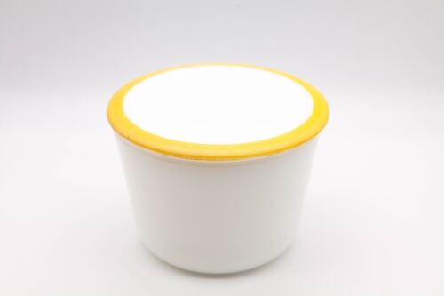 McKee White Canister with Yellow Trim Lid