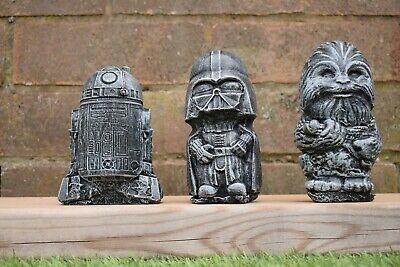 Star Wars Darth Vader, Chewbacca & R2-D2 Stone Garden Ornaments-Free UK P&P!!