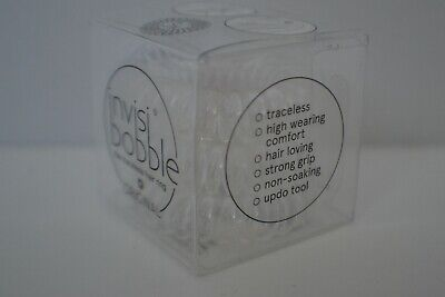 BNIB Invisibobble Original Hair Ties pack of 3 rings in crystal clear colour