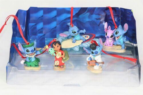 Disney Authentic Lilo & Stitch & Angel Christmas Ornaments 5pc Figure Set New