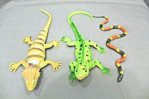 "Reptile Rubber Toys 12"" Horned Lizard - 10.5"" Corn Snake - 11"" Iguana Great Gift"