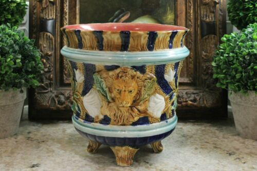 Antique French Majolica Jardiniere Planter Pot Vase Lion Footed Navy Green Gold