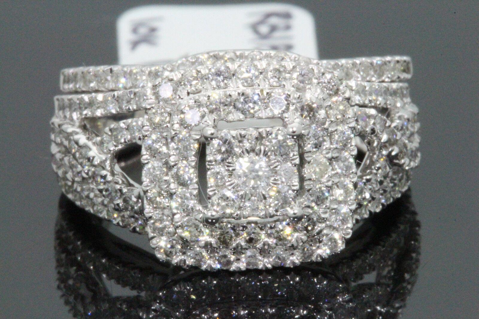 Ladies 10K White Gold Genuine Diamond Engagement Ring Wedding Band Bridal Set