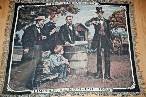 Abraham Lincoln First Namesake City Illinois Woven Fringe Throw Blanke Tapestry
