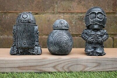 Star Wars C3-PO, R2-D2 & BB8 Reconstituted Stone Garden Ornaments-Free UK P&P!!