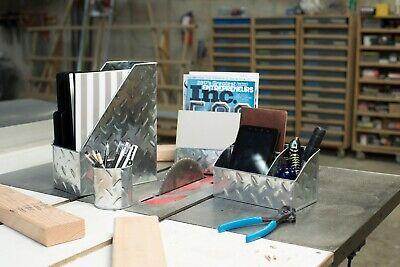 Blu Monaco 4 Piece Galvanized Chrome Desk Organizer Set