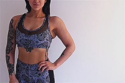 Mesh Back Sports Bra (racer back skull and mesh print sports bra  gym top lycra activewear  grey black)