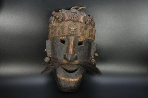 Handmade Tibetan wooden Shaman Tharu Mask Hand Carved Wall Hanging Vintage Nepal