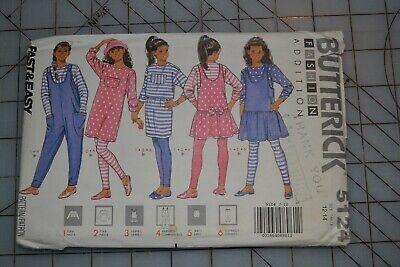 Butterick 5124 sewing pattern, girls top dress jumpsuit skirt pants, size 12-14