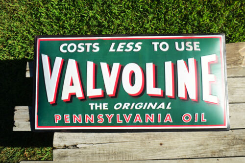 Valvoline Pennsylvania Motor Oil Embossed Tin Metal Sign - Gas Station - Retro