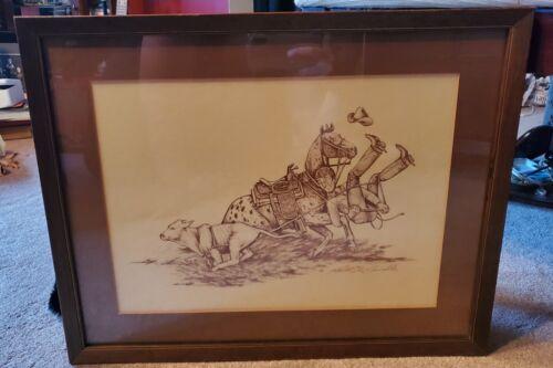 Custom Framed Funny Western Cowboy Rodeo Print Signed & Numbered Artist ODDITY