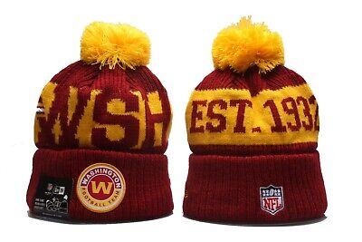 Washington Football Team Winter Cuffed POM Adult NFL Beanie Hat Unisex - New