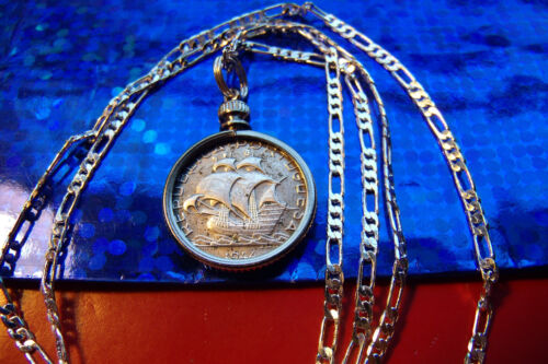 """1940s Portugeusa Silver Sailing Coin Pendant on a 24"""" 925 Sterling Silver Chain"""