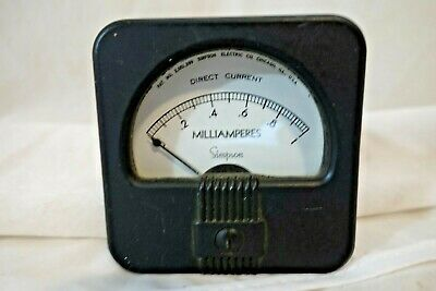 Simpson 1940s Deco Styling Panel Meters Dc Milliamperes 0-1 New Old Stock