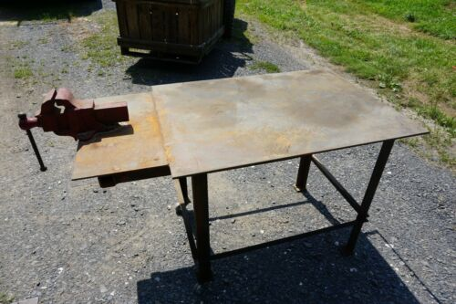 "Heavy Duty Homemade Welding Table With Peerless 4"" Vise 52""L x 291/2""W x 32""H"