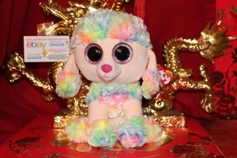d9adca49a06 TY BEANIE BOOS RAINBOW THE POODLE DOG.MEDIUM BUDDY.9