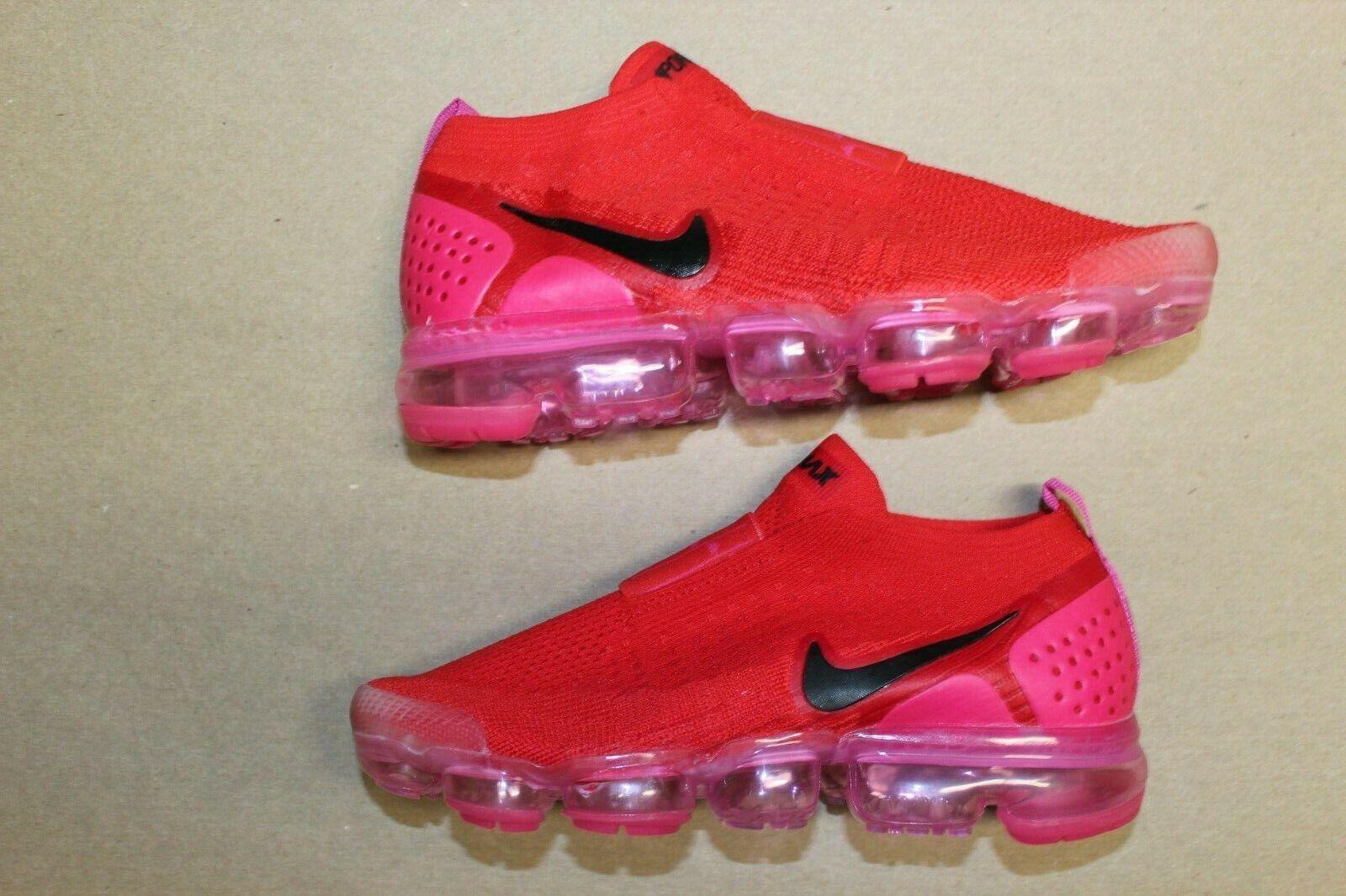 Women's Nike Air Vapormax Flyknit Moc 2 Laceless Size 8 Red Pink Black