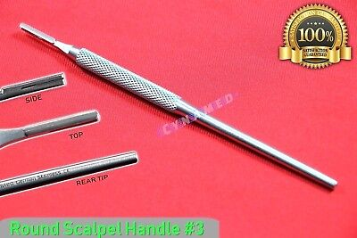 Round Scalpel Handle 3 German Stainless With Grip Surgical Veterinary Dental
