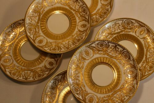 MAGNIFICENT SET OF SIX MINTON TIFFANY GOLD SMALL PLATES ANTIQUE
