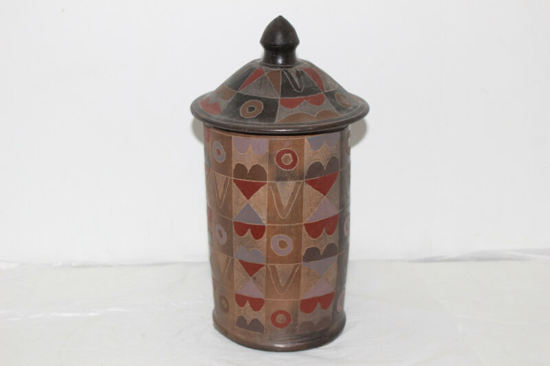VINTAGE MEXICAN POTTERY APOTHICARY JAR/CANISTER W/LID