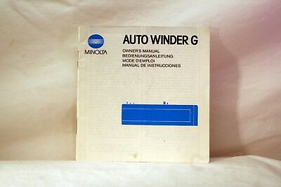 Original OEM Minolta Auto Winder G Instruction Manual (1984)