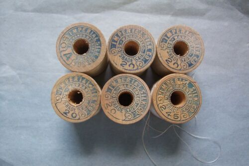 "6 Antique Wooden Spools Silk Sewing Thread ""Imperial Silk Company"" ""Collectible"""