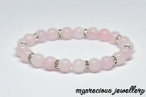 Natural Rose Quartz Bracelet Fertility Pregnancy Gemstone Healing Stone Reiki UK